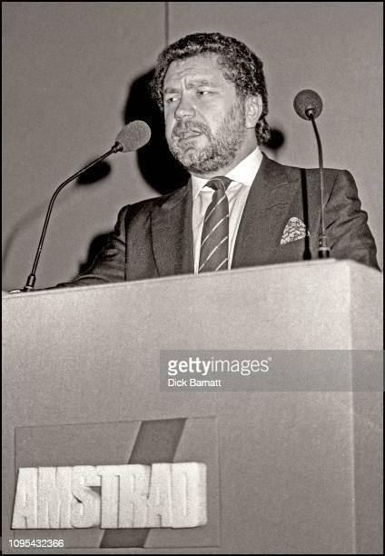 British businessman Alan Sugar talking at a press conference London 1988
