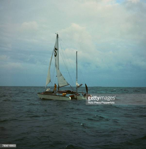 British businessman and amateur sailor Donald Crowhurst aboard his trimaran Teignmouth Electron prior to taking part in the Sunday Times Golden Globe...