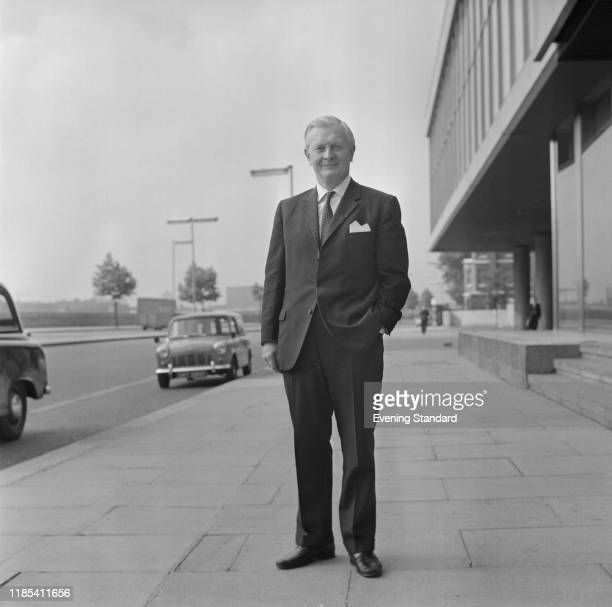British businessman and Conservative Party politician John Davies Minister of Technology outside the Millibank Tower in Pimlico UK 11th August 1970