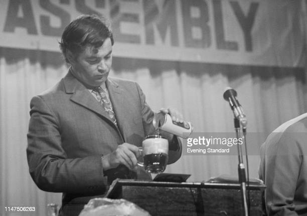 British businessman and Liberal Party politician John Pardoe having a pint at the Liberal Party annual conference in Brighton, UK, 25th September...