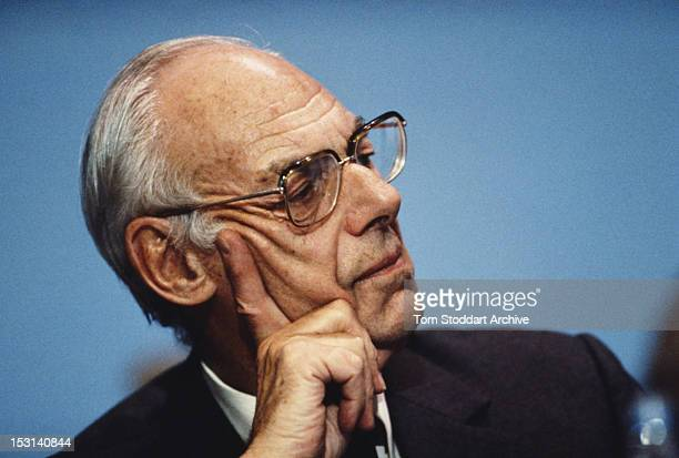British businessman Denis Thatcher husband of Prime Minister Margaret Thatcher at the Conservative Party Conference 1990