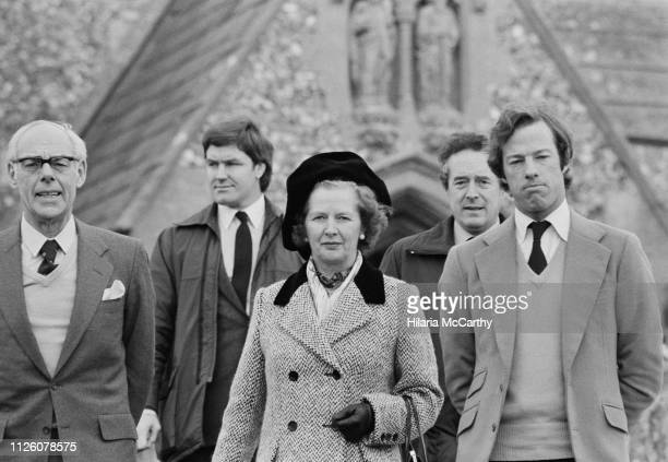 British businessman Denis Thatcher Prime Minister of the United Kingdom Margaret Thatcher and British businessman Mark Thatcher UK 18th January 1982