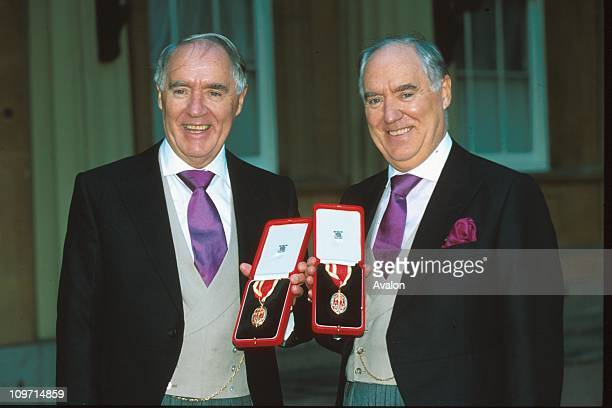 Sir Frederick Barclay Kb and Right Sir DAVID BARCLAY KB British BusinessmenOutside Buckingham Palace after receiving their Knighthoods