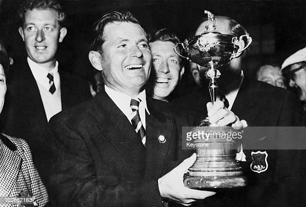 British captain Dai Rees holding the Ryder Cup after beating the US at Lindrick Golf Club 7th October 1957