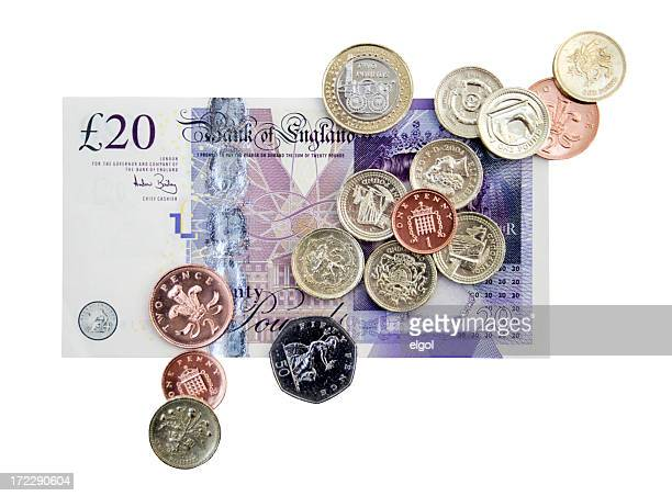 british cash clipping path - british pound sterling note stock pictures, royalty-free photos & images