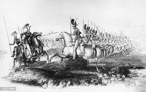 British cavalry of the Royal Scots Greys charging the Polish Lancers at the Battle of Waterloo Belgium 18th June 1815