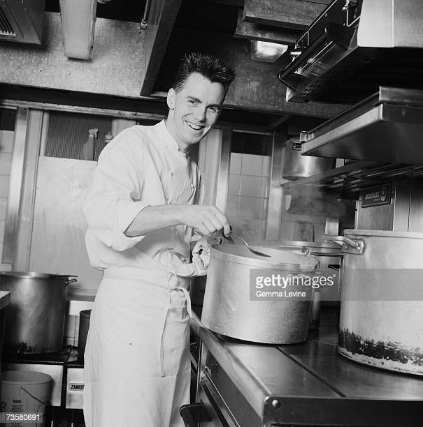 British celebrity chef restaurateur and cookery writer Gary Rhodes at work circa 1995