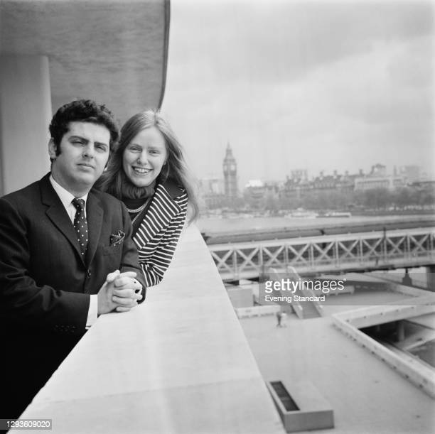 British cellist Jacqueline Du Pré on the South Bank in London with her husband, pianist and conductor Daniel Barenboim, UK, 21st May 1968.