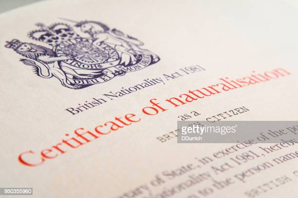 british certificate of naturalization - immigration law stock pictures, royalty-free photos & images