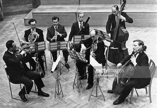 British chamber musicians of the Melos Ensemble 3rd December 1968 Left to right violinist Emanuel Hurwitz horn player Neill Sanders clarinetist...