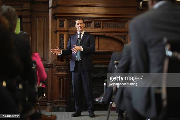 British Chancellor George Osborne addresses guests during a visit to the Manchester Chamber of Commerce on July 1 2016 in Manchester England During...