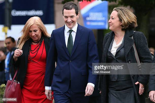 British Chancellor George Osborne arrives on day two ahead of his keynote speech on October 5 2015 in Manchester England Conservative Party members...