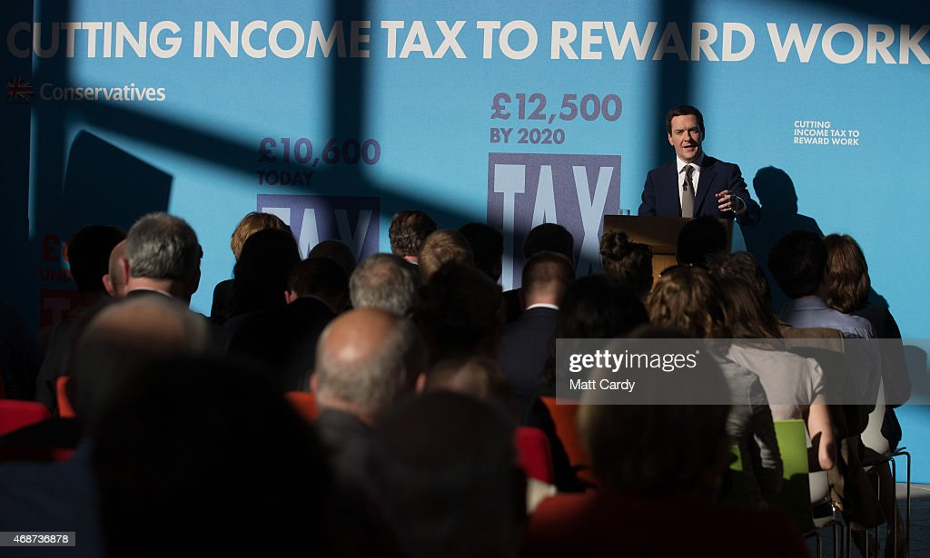 British Chancellor George Osborne speaks to party supporters gathered at the Bristol and Bath Science Park on April 6, 2015 in Bristol, England. Campaigning continued today in what is predicted to be Britain's closest national election which will take place on May 7.