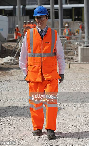 British Chancellor George Osborne tours building works at Manchester's Victoria Station which is being upgraded on June 23 2014 in Manchester England...