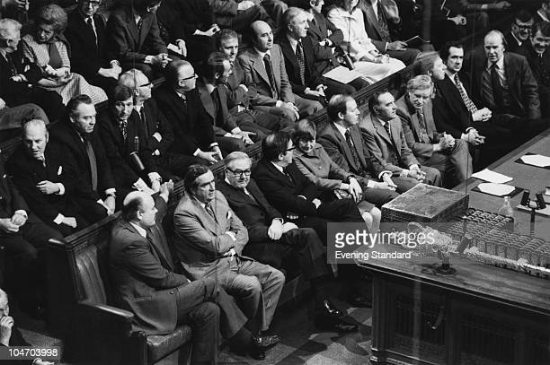 British Chancellor of the Exchequer Dennis Healey and Prime Minister James Callaghan on the front bench at the House of Commons London 24th November...