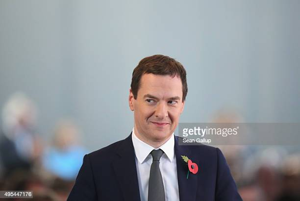 British Chancellor of the Exchequer George Osborne attends the 'Day of German Indsutry' annual gathering on November 3 2015 in Berlin Germany Hosted...