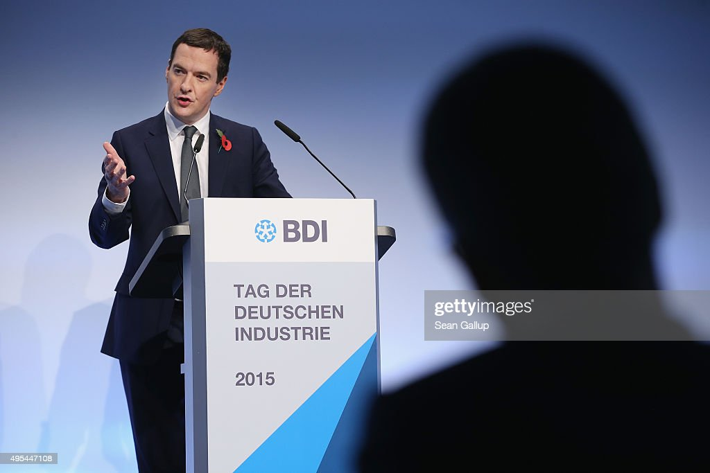 British Chancellor of the Exchequer George Osborne speaks at the 'Day of German Indsutry' annual gathering on November 3, 2015 in Berlin, Germany. Hosted by the German Federation of Industry (BDI), the annual gathering brings together industrial leaders from across Germany as well as political leaders.