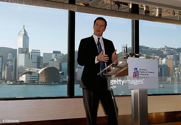 British Chancellor of the Exchequer George Osborne speaks during a breakfast meeting held by the British Chamber of Commerce in Hong Kong on February...