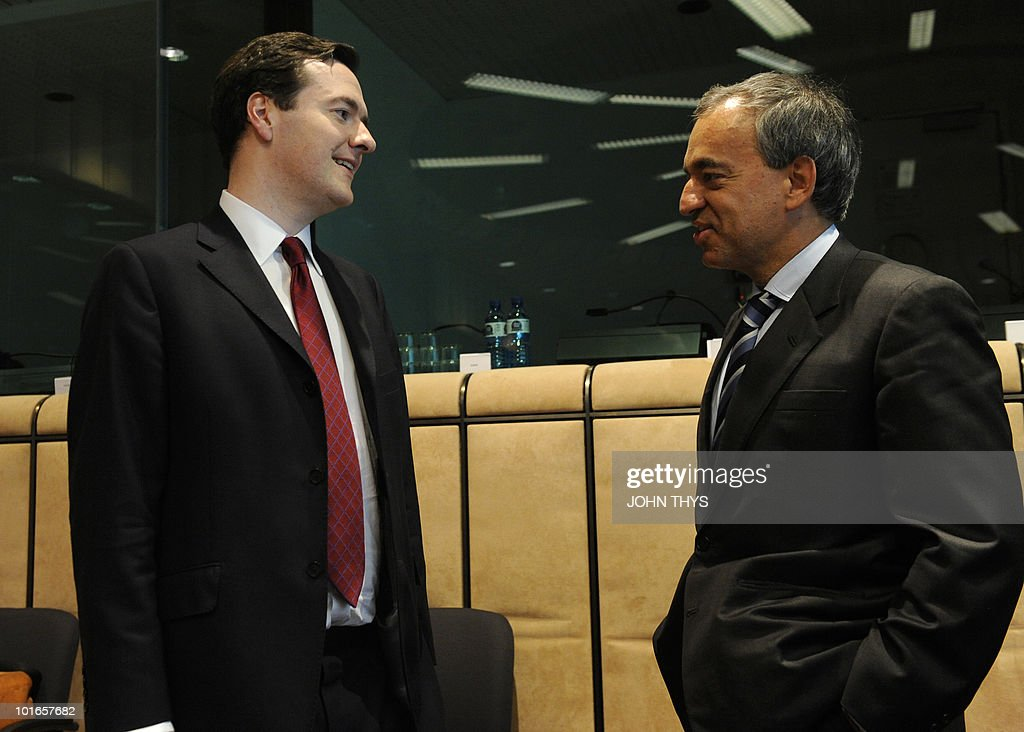 British Chancellor of the Exchequer George Osborne (L) speaks with Cyprus' Charilaos Stavrakis (R) before a Economy Task Force meeting at the EU headquarters in Brussels on May 21, 2010. European ministers headed for landmark talks on curbing overspending Friday amid global turmoil over the eurozone debt crisis and signs of damage to economic recovery.