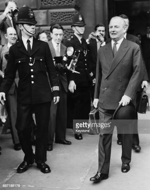British Chancellor of the Exchequer Selwyn Lloyd leaving the Treasury to present his first budget at the House of Commons 17th April 1961