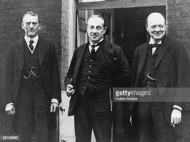 British Chancellor of the Exchequer Winston Churchill in Downing Street with Prime Minister Stanley Baldwin and Foreign Secretary Sir Austen...