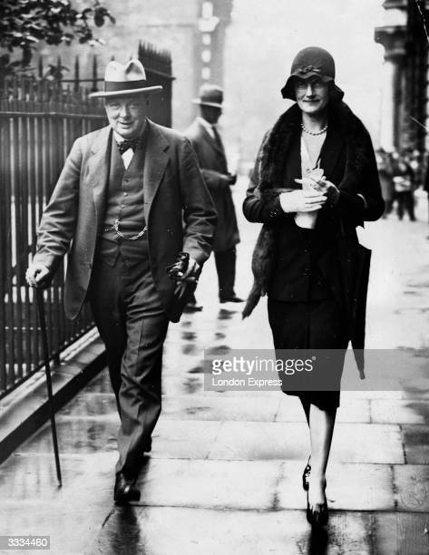 British chancellor of the exchequer Winston Churchill with his wife Clementine
