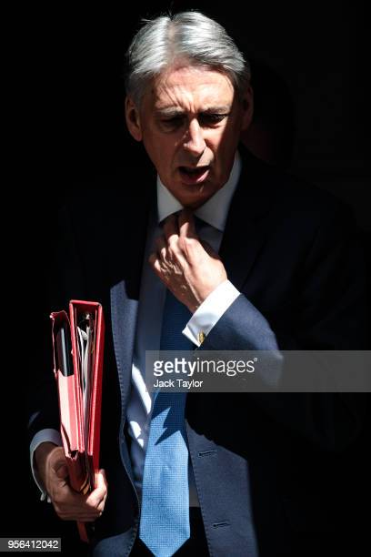 British Chancellor Philip Hammond leaves 11 Downing Street ahead of Prime Minister's Questions on May 9 2018 in London England The Government...