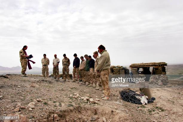 British chaplain Michael Sharkey speaks during a memorial service March 15 2007 in Kajaki Afghanistan Helmand province British troops gathered on a...