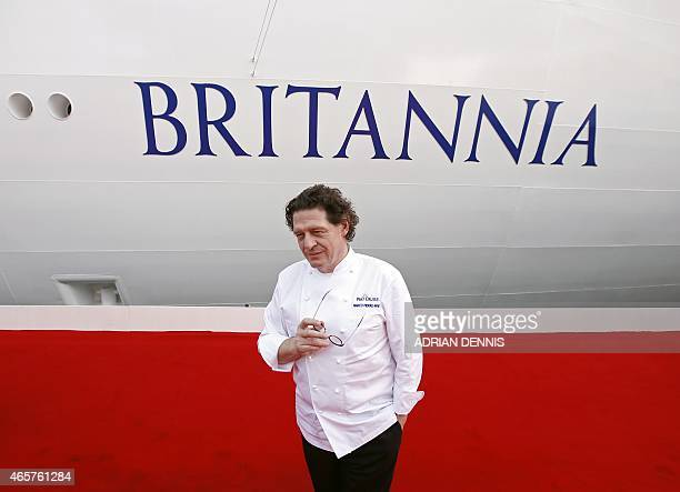 British chef Marco Pierre White poses for a photograph ahead of the naming ceremony for the new PO Cruises ship at the Ocean Cruise Terminal during...
