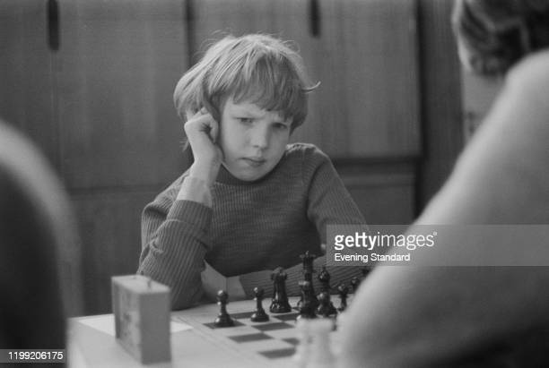 British chess grandmaster Nigel Short concentrates on his next move during a competition in London, England, in December 1976.