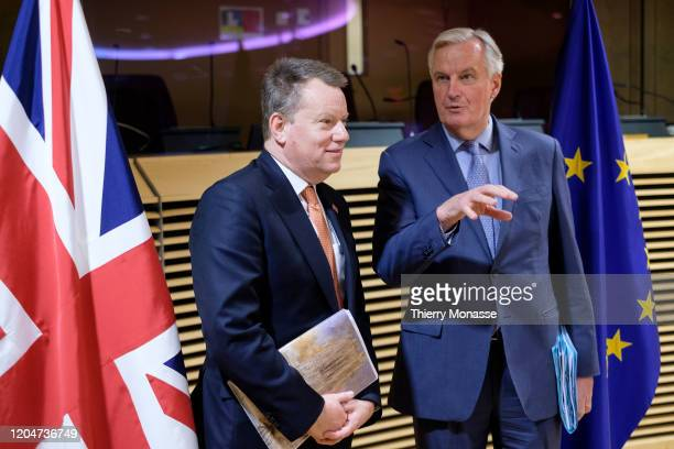 British Chief Negotiator of Task Force Europe at the Cabinet Office David George Hamilton Frost CMG is welcomed by the European Union Head of the UK...