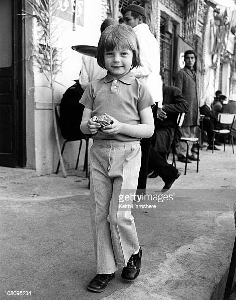 British child actor Steven Warner on the streets of Tozeur in Tunisia during the filming of 'The Little Prince' 1974