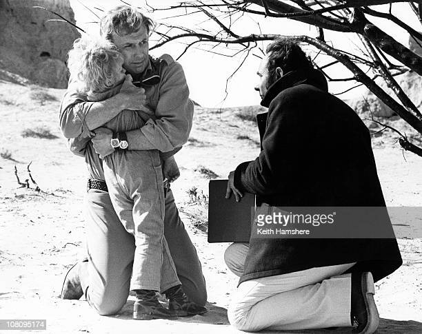 British child actor Steven Warner with American actor Richard Kiley and director Stanley Donen during the filming of 'The Little Prince' in Tunisia...