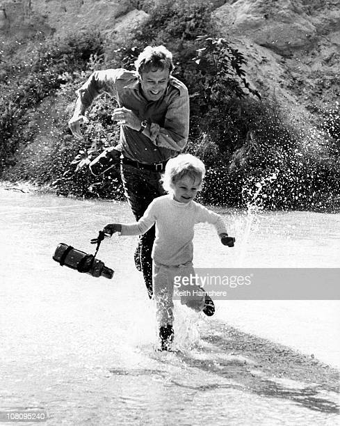 British child actor Steven Warner with American actor Richard Kiley during the filming of 'The Little Prince' in Tunisia 1974 They play the parts of...