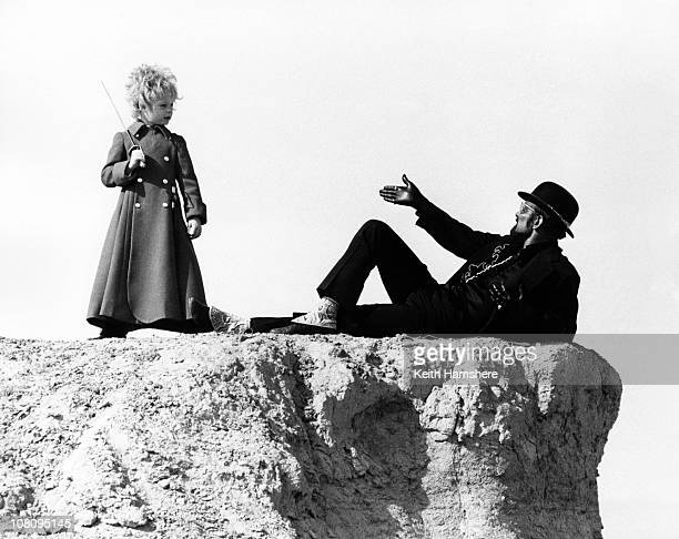 British child actor Steven Warner with American dancer and choreographer Bob Fosse on the set of the film 'The Little Prince' in Tunisia 1974 They...