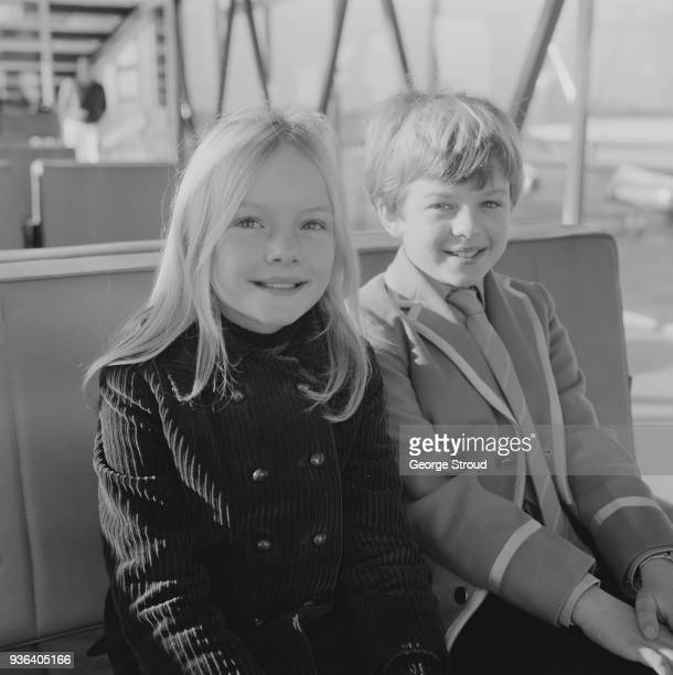 British child actors Heather Ripley and Adrian Hall costars in musical adventure fantasy film 'Chitty Chitty Bang Bang' at Heathrow Airport London UK...