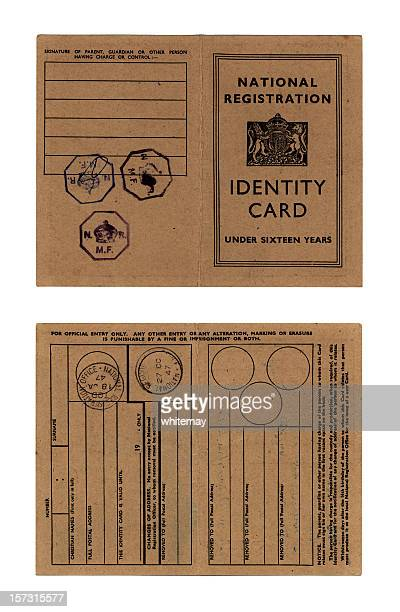 british child's obsolete identity card - 1947 stock pictures, royalty-free photos & images