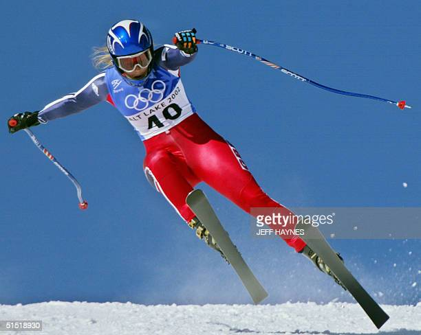 British Chimene Alcott in action the women's Super G for the 2002 Salt Lake City Olympic Winter Games in Snowbasin 17 February 2002 AFP PHOTO/JEFF...