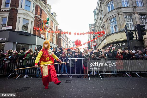 British Chinese celebrate Chinese New Year with dragon and lion dance performance in Chinatown of London The celebration attracts thousands of...