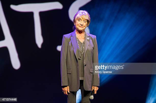 British choreographer for the musical production of 'Cats' Gillian Lynne speaks during a press presentation of the show at the Mogador Theatre on...