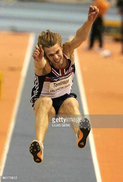 British Christopher Tomlinson competes in the long jump final and took the silver medal on March 8, 2008 at the IAAF World Indoor Championships in...