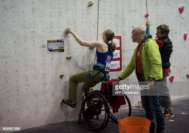 British climber Hannah Baldwin competes in the English stage of the IFSC Paraclimbing Cup at the Awesome Walls climbing centre in Sheffield northern...
