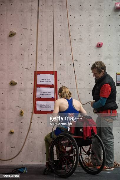 British climber Hannah Baldwin prepares to compete in the English stage of the IFSC Paraclimbing Cup at the Awesome Walls climbing centre in...