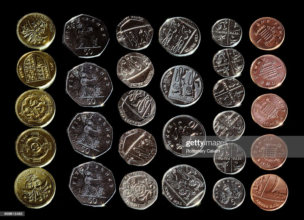 British Coins In Order Of Value On Black Stock Photo - Getty Images