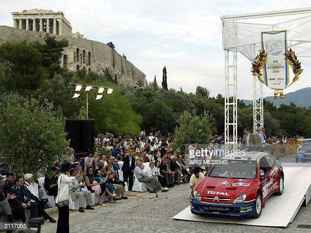 British Colin McRae and his codriver Derek Ringer with their Citroen Xsara start the 50th Acropolis rally in Athens 5 May 2003 The drivers will cover...