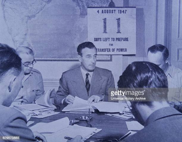 British colonial administrators meet with Lord Mountbatten Viceroy of India to plan the partition of India 1947