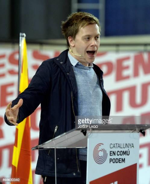 British columnist author commentator and political activist Owen Jones speaks during a campaign meeting of 'Catalunya en comu podem' electoral...