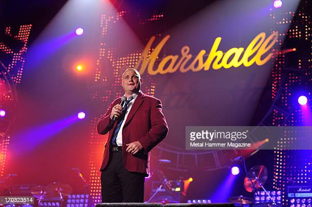 British comedian Al Murray performing live onstage during the Marshall 50 Years Of Loud anniversary concert at Wembley Arena September 22 2012