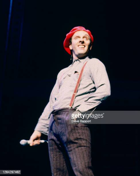 British comedian and actor Rik Mayall , during Comic Relief, Shaftesbury Theatre, London, 4/25/1986.