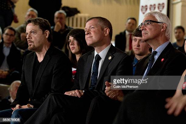 British comedian Eddie Izzard and politicians Willie Rennie and Alastair Darling listening to speeches at an antiScottish independence Better...